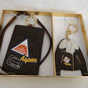 MICHAEL KORS Sig Aspen ID Lanyard & Key Ring Set